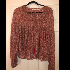 Zara red paisley flowy long sleeve shirt